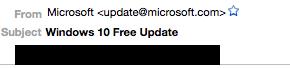 Nắm bắt tâm lý háo hức chờ đợi cập nhật Windows 10 của người dùng, tội phạm số đã bắt đầu giả danh các email cập nhật từ Microsoft để lừa cài ransomware (mã độc tống tiền) vào thiết bị của người dùng.