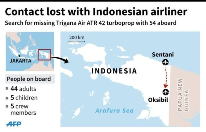 Máy bay gặp nạn khi đang bay từ Sentani tới Oksibil - Ảnh: AFP