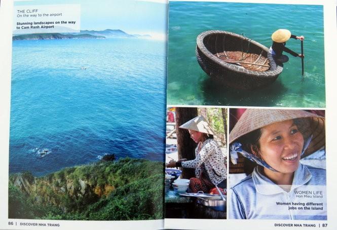 Các trang ảnh giới thiệu về cảnh đẹp, con người ở Hòn Miễu trong phần Khám phá qua ảnh của tạp chí Discover Nha Trang
