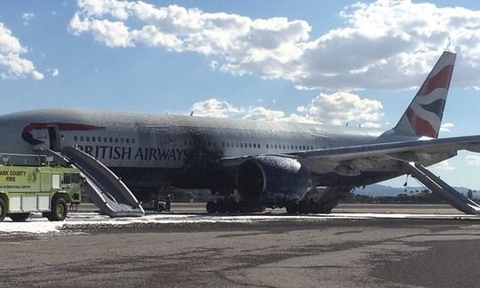 Máy bay sau khi được dập lửa. Ảnh: The Guardian