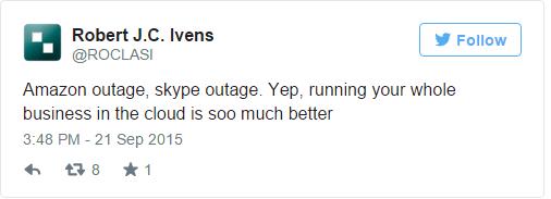 Một người dùng cho biết Amazon và giờ là Skype đang sập. Điều này ảnh hưởng lớn tới công việc kinh doanh của anh ta.