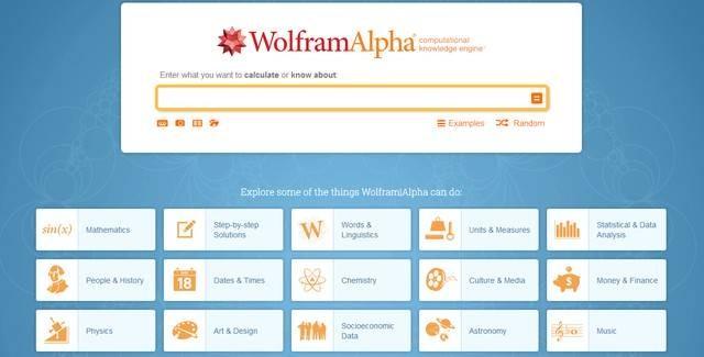 Các lĩnh vực mà WolframAlpha hiểu biết là rất rộng lớn