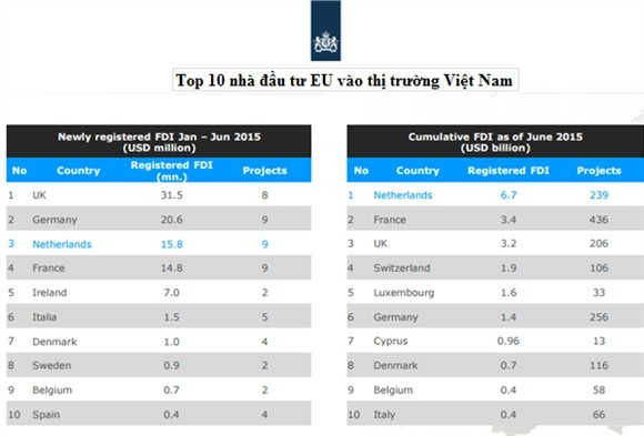 Ha Lan dung dau cac nuoc EU dau tu FDI vao Viet Nam