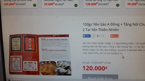 Giá Yến sào: Tung voucher lấp lửng giảm giá, hóa ra bù tiền - Ảnh 3