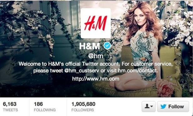 H&M với lượng người theo dõi lớn trên Twitter