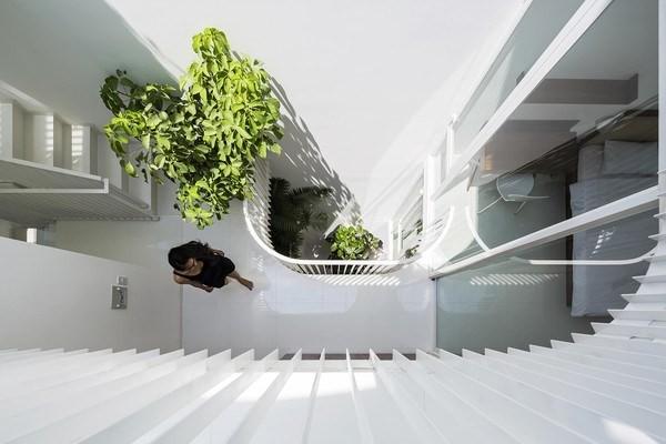 Ngôi nhà được thiết kế với tone màu trắng và gỗ chủ đạo.