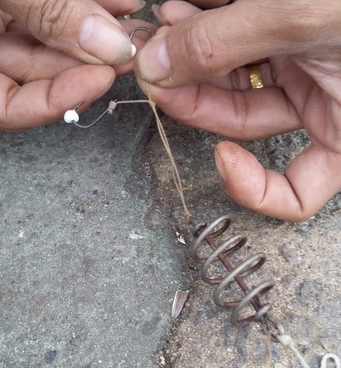 Lưỡi câu chùm là loại được dùng nhiều để đánh bắt cá trộm ở hồ Tây - Ảnh: Quang Thế