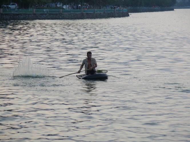 Dùng gậy đập xuống nước để cá chạy mắc vào lưới - Ảnh: Quang Thế