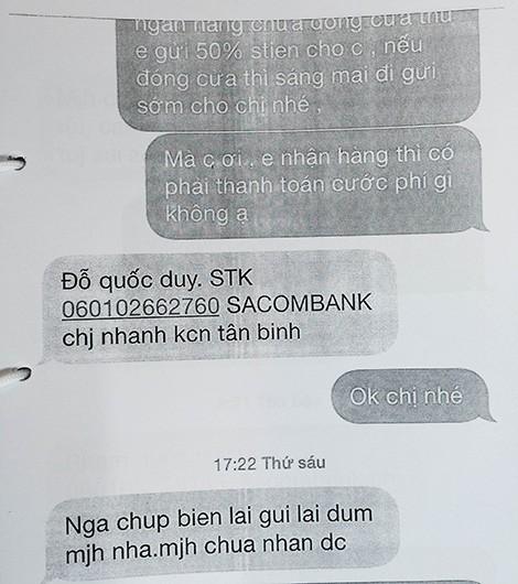 Tin nhắn trong vụ án lừa đảo bán iPhone5 qua mạng, sử dụng tài khoản của anh Đỗ Quốc Duy.