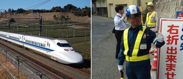Nhật Bản là cái nôi của công nghệ tàu điện siêu cao tốc, thế nhưng vẫn dùng người để điều tiết giao thông thay cho đèn báo.