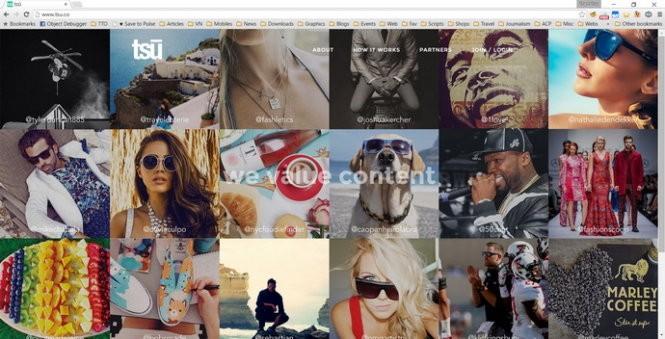 Mạng xã hội Tsu.co với chính sách chia sẻ 90% doanh thu quảng cáo cho người dùng - Ảnh chụp giao diện website Tsu.co