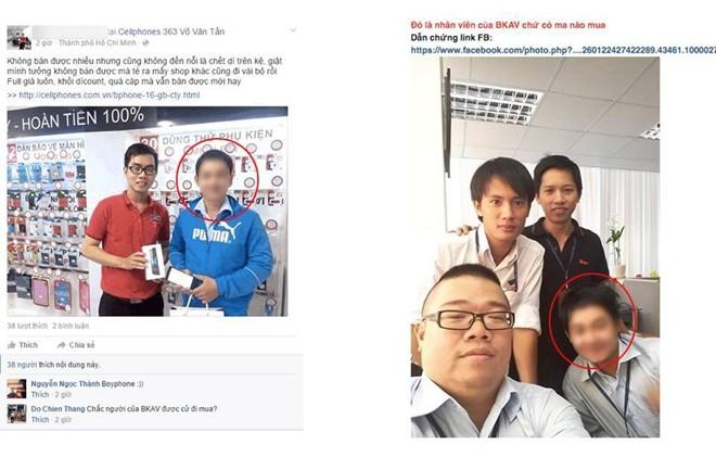 Hình ảnh người mua Bphone tại cửa hàng CellphoneS và người được cho là nhân viên Bkav đăng tải trên một diễn đàn công nghệ tại Việt Nam.