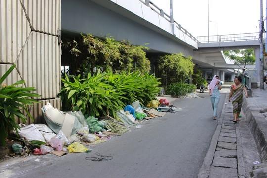 Hậu quả của việc bán hàng rong trên cầu là phía dưới cầu những bãi rác khổng lồ, bốc mùi hôi thối khiến người dân trong khu vực phải dùng áo bịt mũi, miệng khi đi qua.
