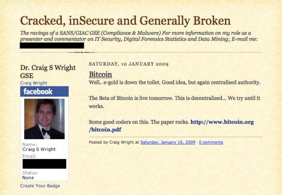 Ảnh chụp màn hình trang blog của Craig Wright cho thấy kế hoạch phát hành đồng tiền Bitcoin.