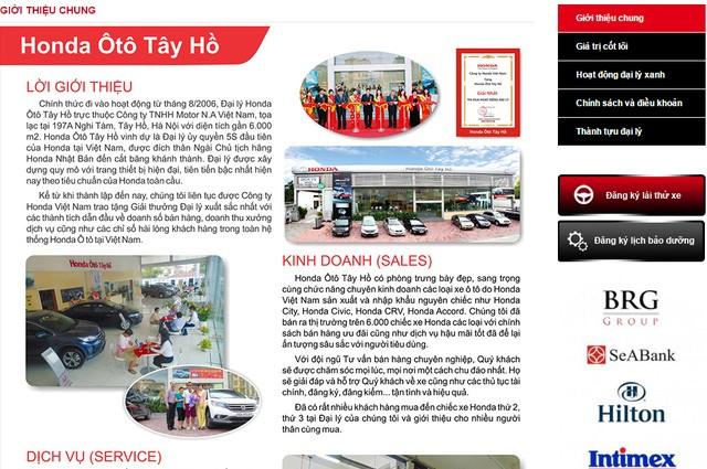Dấu ấn của BRG trên website Honda Tây Hồ