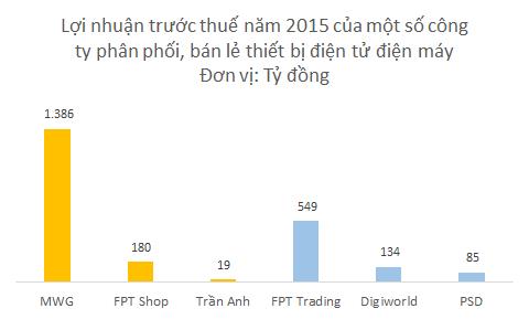 Phần lớn lợi nhuận thuộc về các doanh nghiệp dẫn đầu như Thế giới Di động (bán lẻ) và FPT Trading (phân phối)