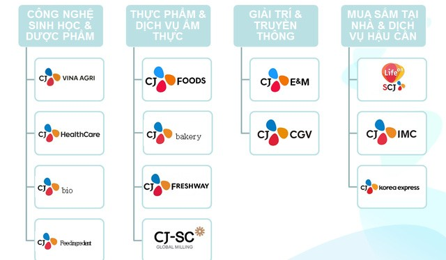 Các mãng kinh doanh của CJ tại Việt Nam, trong đó điện ảnh chỉ là một trong 4 mảng lớn
