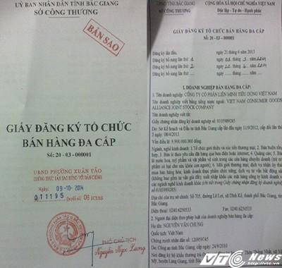 Giấy đăng ký kinh doanh của Công ty cổ phần Liên minh Tiêu dùng Việt Nam do Sở Công thương Bắc Giang cấp ngày 21/6/2013.
