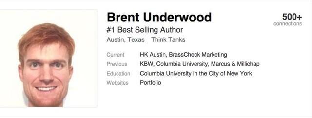 Profile Linkedin : Brent Underwood – tác giả sách bán chạy nhất