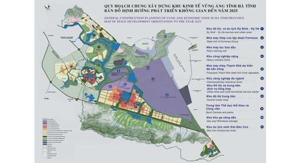 Bản đồ quy hoạch chung khu kinh tế Vũng Áng - Nguồn: Ban quản lý KKT Vũng Áng