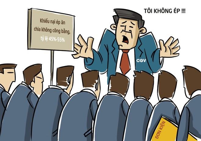 Chiếm tới 40% thị phần tại Việt Nam, CGV được cho là ép các doanh nghiệp khác phải chịu một mức ăn chia doanh thu 55%-45%, đồng thời tăng giờ vàng chiếu phim do đơn vị này phát hành.