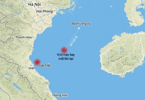 Vị trí chiếc CASA mất liên lạc gần với vị trí tìm thấy dấu hiệu nghi của phi công Trần Quang Khải.