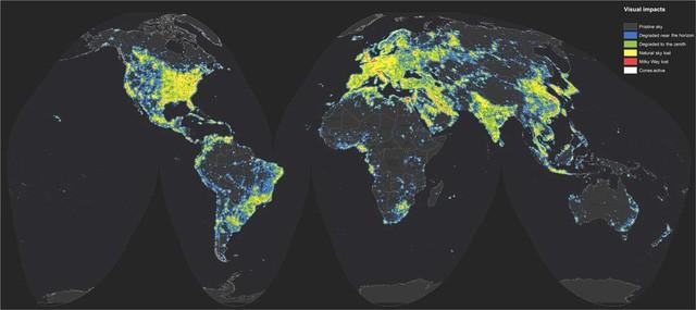 Bản đồ ô nhiễm ánh sáng trên toàn cầu. Nguồn: sciencemag.org
