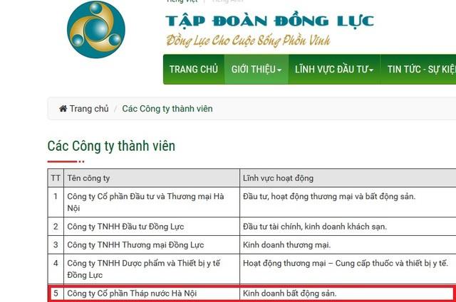 Tập đoàn Đồng Lực giới thiệu Công ty CP Tháp nước Hà Nội là một thành viên của công ty này