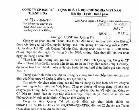Kỳ lạ đề nghị xin cho chuyên gia Trung Quốc làm việc 'chui' - ảnh 1