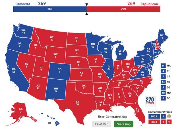 Tình thế nan giải của bầu cử tổng thống Mỹ: Ứng viên đảng Cộng hòa và đảng Dân chủ hòa nhau với số phiếu đại cử tri là 269-269. Ảnh: 270 to win.