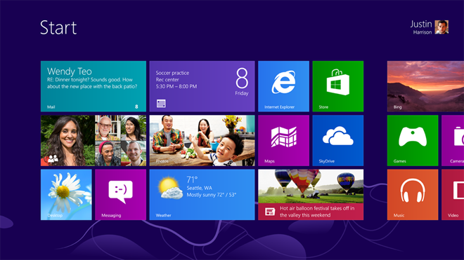 Windows 8 đã được thiết kế lại quyết liệt của giao diện Windows quen thuộc. Microsoft gỡ bỏ các trình đơn Start và thay thế nó bằng một Start Screen toàn màn hình. New