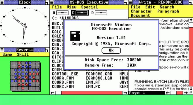 Đây là bức ảnh đánh dấu bước khởi đầu của kỷ nguyên Windows. Windows 1.0 chính thức được giới thiệu với giao diên đơn sơ, hỗ trợ con trỏ chuột và một số ứng dụng đon giản. Dù Windows 10 hiện tại khác hoàn toàn so với Windows 1.0, nó vẫn giữ lại nhiều yếu tố cơ bản ngay từ buổi đầu của Windows như ban đầu như thanh cuộn, thanh menu, biểu tượng ứng dụng, hộp thoại và một số ứng dụng như Notepad và MS Paint.