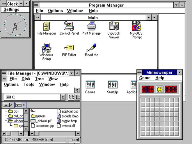 Phiên bản 3.0 của Windows cải thiện đáng kể giao diện người dùng cùng với trình quản lý ứng dụng và tập tin mới. Bản cập nhật 3.1 được tung ra sau đó còn mang đến minigame Minesweeper về sau đã thu hút không ít người dùng.
