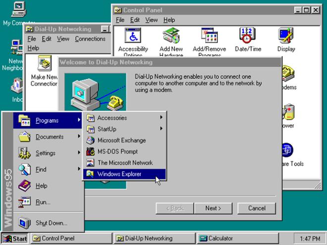 Windows 95 được đánh giá là một trong những bản cập nhật quan trọng nhất của Windows. Microsoft bắt đầu làm quen với nền tảng 32-bit và giới thiệu đến người dùng thanh menu Start. Một kỷ nguyên mới của các ứng dụng lại được mở ra với sự xuất hiện của trình duyệt Internet Explorer trong bản cập nhật tiếp theo của Windows 95.