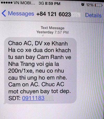Tin nhắn rao bán dịch vụ vận tải từ sân bay Cam Ranh về TP Nha Trang, tỉnh Khánh Hòa