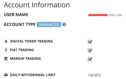 Thông tin về một tài khoản Bittrex đã xác minh thông tin cá nhân.