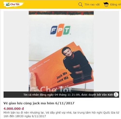 Vé mời buổi trò chuyện cùng Jack Ma được rao bán với gái 4 triệu đồng. Ảnh chụp màn hình.