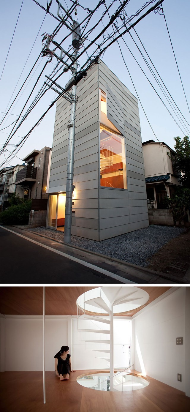 Ở Tokyo (Nhật Bản) còn có căn nhà hình khối với phong cách hiện đại, diện tích tuy nhỏ nhưng vẫn được tạo cảm giác thông thoáng.