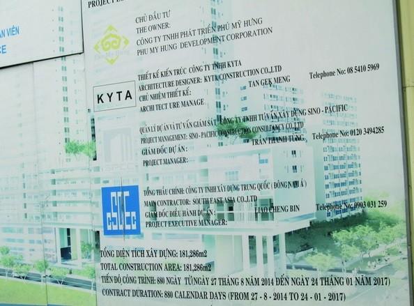 Bảng hiệu dự án Scenic Valley cho thấy CSCEC là nhà thầu chính của dự án