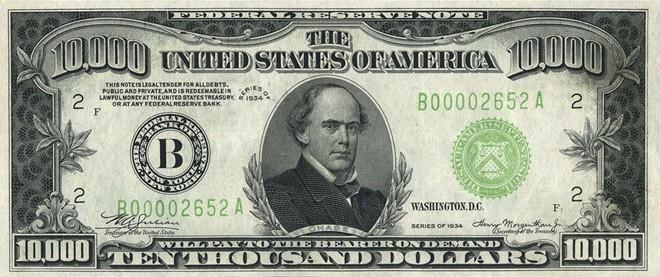 FED hiện phát hành các loại tiền giấy có giá trị 1, 2, 5, 10, 20, 50 và 100 USD. Tuy nhiên, trong lịch sử, đồng tiền có mệnh giá lớn nhất của nước Mỹ từng lên tới 10.000 USD. Ảnh: Wikipedia.