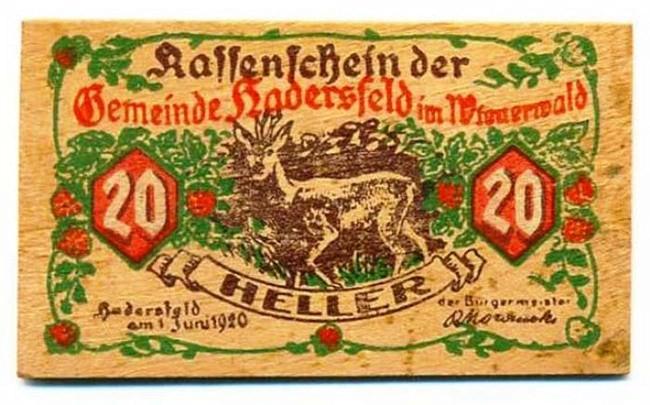 Tiền gỗ Tiền gỗ đã được Đức sử dụng để khôi phục nền kinh tế sau Chiến tranh Thế giới I (1914-1918). Khi chiến tranh chính là nguyên nhân quan trọng khiến kinh tế Đức rơi vào suy htoais, chính quyền địa phương đã tìm mọi cách để phát hành đồng