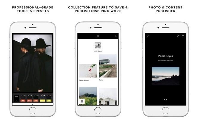 VSCO Cam, ứng dụng chụp và chỉnh sửa ảnh ấn tượng trên di động. Sau khi phát hành, VSCO Cam nhận được khá nhiều bình luận tích cực từ người dùng nhờ khả năng chụp hình, bộ lọc màu, biên tập hình ảnh. Đặc biệt, nó còn có khả năng đồng bộ hóa tài khoản cá nhân nếu chẳng may bạn mất dữ liệu hoặc đổi thiết bị mới.