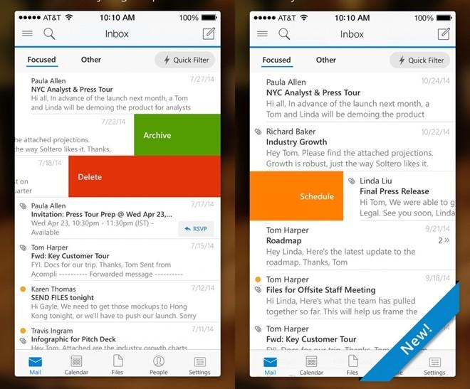 Outlook, ứng dụng thay thế email mặc định. Với việc phát hành một loạt các ứng dụng đa nền tảng, Microsoft đã thể hiện trọng tâm kinh doanh của hãng không còn gói gọn ở nền tảng Windows. Với khả năng push mail nhanh cùng giao diện trực quan cũng như kết nối với các dịch vụ lưu trữ đám mây, Outlook là ứng dụng email tốt nhất trên cả hai nền tảng iOS và Android.