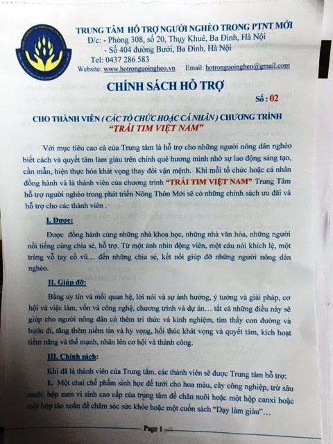 Trái tim Việt Nam, đa cấp, Trần Đức Trung, trung tâm hỗ trợ người nghèo