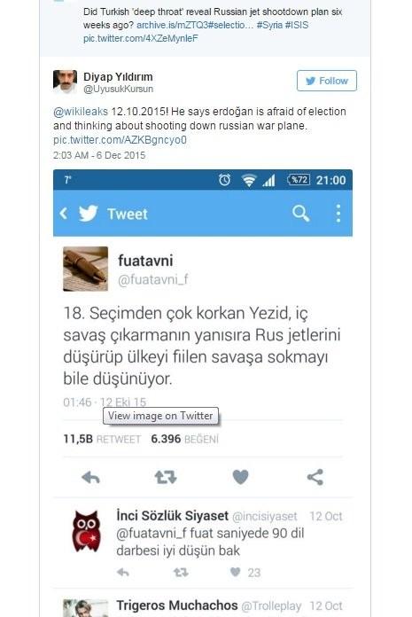 """Nội dung đăng trên Twitter của """"người thổi còi"""" Fuat Avni do WikiLeaks dẫn lại - Ảnh chụp lại từ màn hình"""