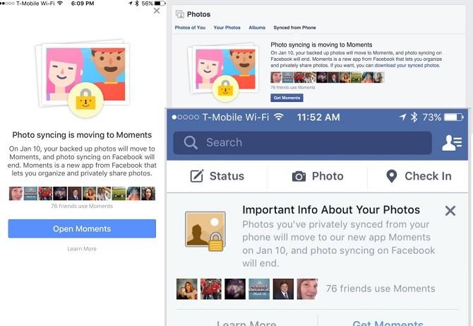 Facebook sẽ buộc bạn sử dụng app Moments để đồng bộ hóa hình ảnh trên điện thoại di động