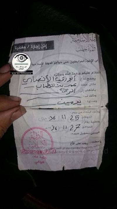 Giấy thông hành tại vùng IS kiểm soát