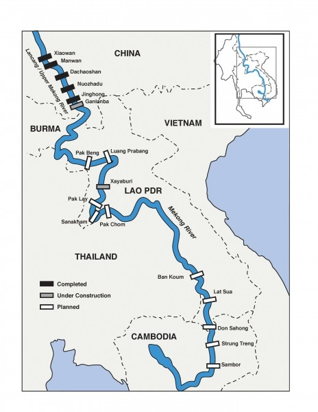 Những con đập trên sông Mekong. Màu đen là đã hoàn thành, xám là đang xây, còn trắng là mới lên kế hoạch.