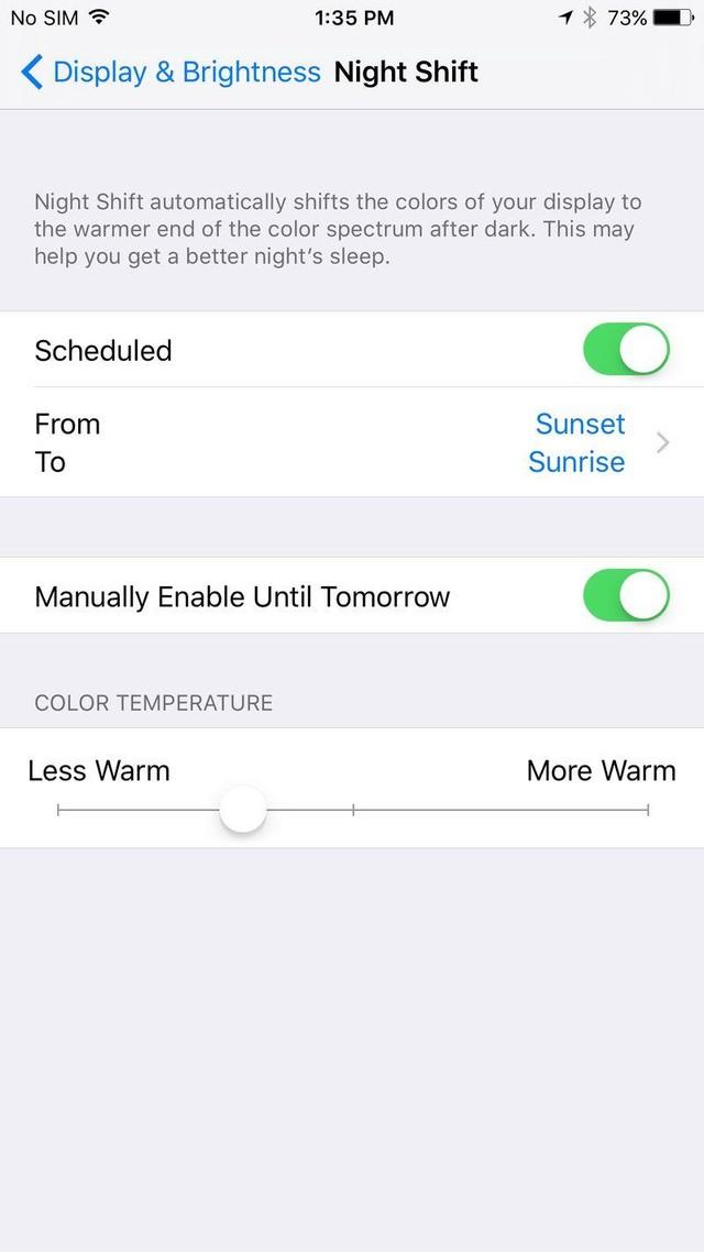 Chức năng Night Shift mới được ra mắt cùng hệ điều hành iOS 9.3