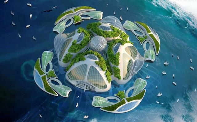 Thành phố nổi trên mặt biển với khả năng tự sản sinh ra điện, thực ăn và nước uống từ nguồn nước biển bên dưới. Người dân còn có thể thưởng thức quang cảnh biển và hoàng hôn tuyệt đẹp.